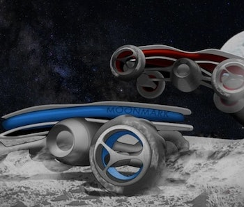 Render of two Moon Mark racecars on the moon with the Earth on the horizon.