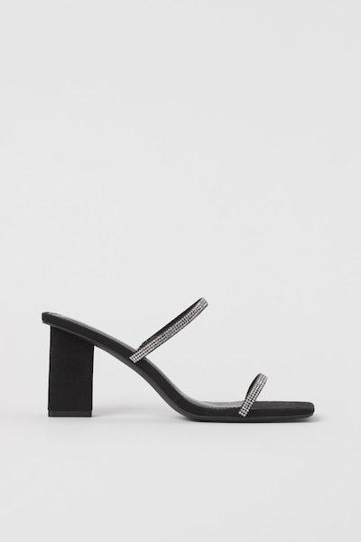 Rhinestone-strap Sandals
