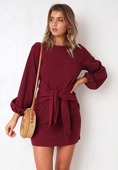 PRETTYGARDEN Long Sleeve Tie Waist Knit Dress