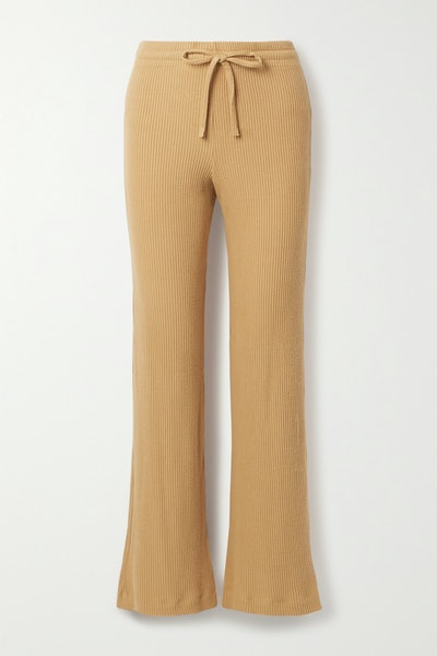 Alex Ribbed Stretch-Knit Wide-Leg Pants