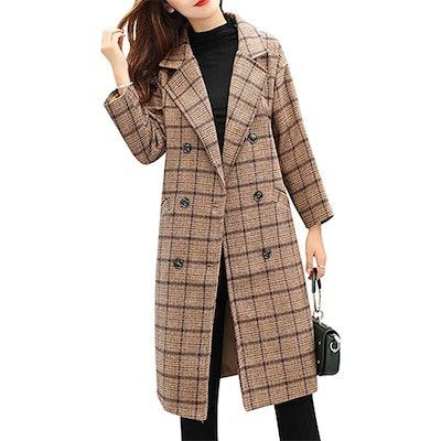 Tanming Long Plaid Wool Blend Pea Coat