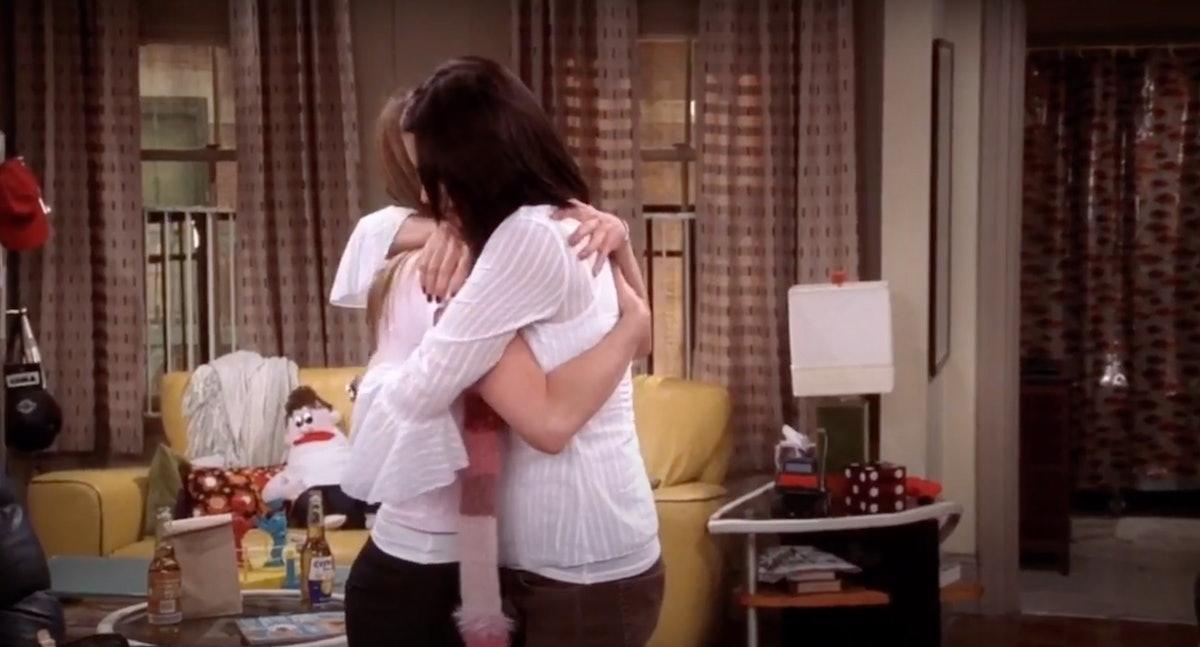 Monica and Rachel hug each other in 'Friends.'