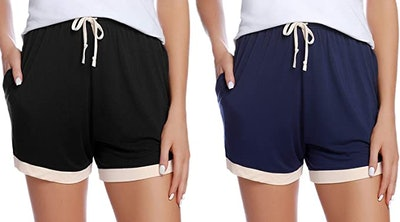 Aibrou Cotton Stretch Sleep Shorts (2-Pack)