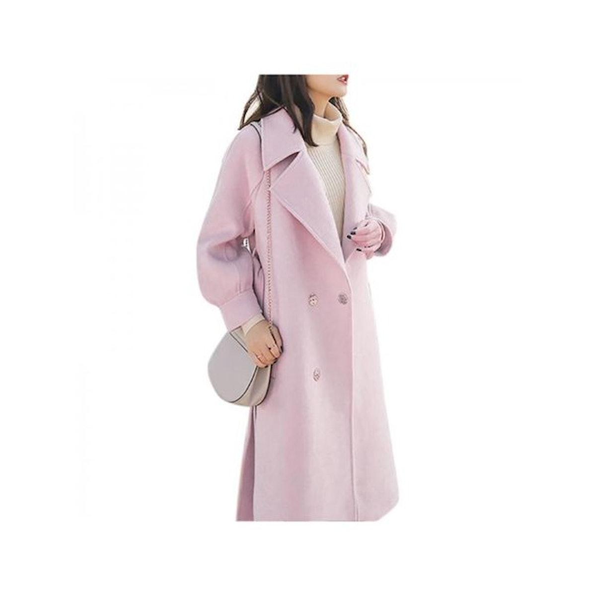 Topumt Womens Winter Warm Wool Lapel Long Coat