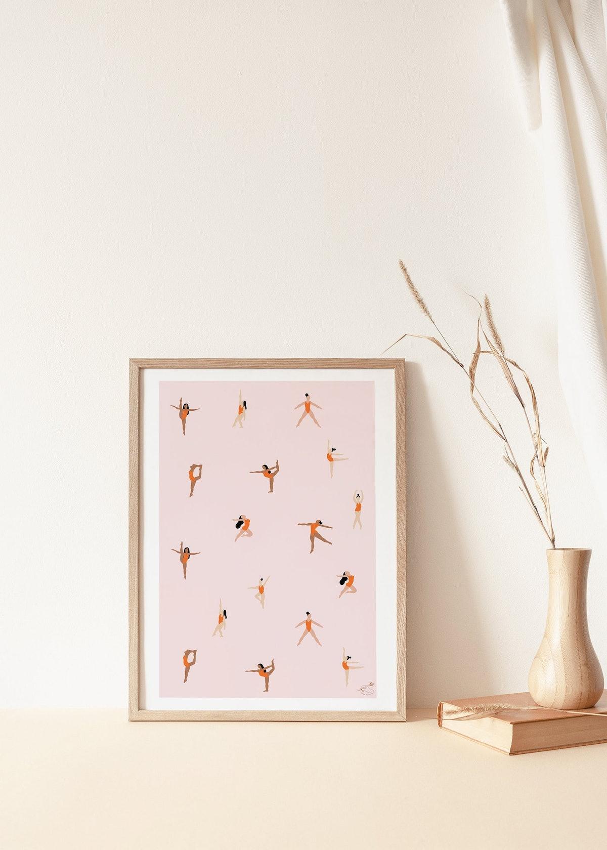 Dancers in Orange A4 A3 A2 Giclee Print