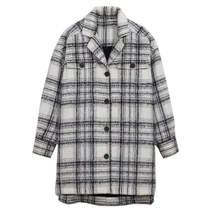 Oversized Soft-Brushed Plaid Long Shirt Jacket