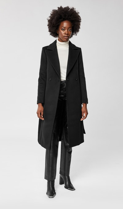 Sienna Tailored Wool-Cashmere Coat with Sash Belt