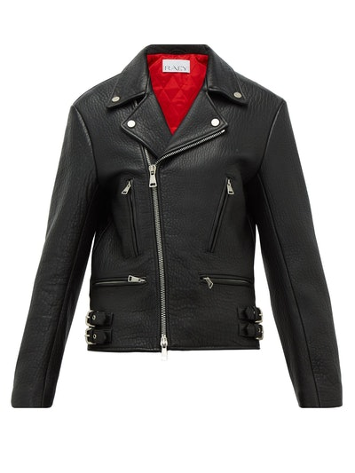 Tumbled-Leather Biker Jacket