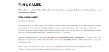 GameStop Xbox shrine contest screenshot