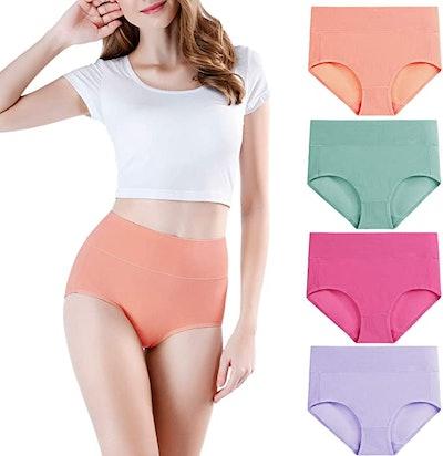 wirarpa High-Waisted Cotton Underwear (4- Pack)