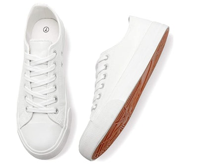 Adokoo Faux Leather Lace-Up Sneakers