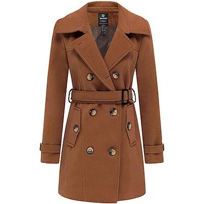 Wantdo Long Pea Coat With Belt