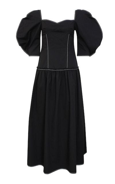 Louisa Puff-Sleeve Cotton Midi Dress