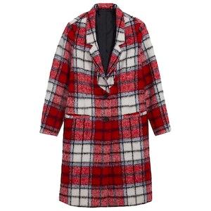 Oversized Soft-Brushed Plaid Overcoat