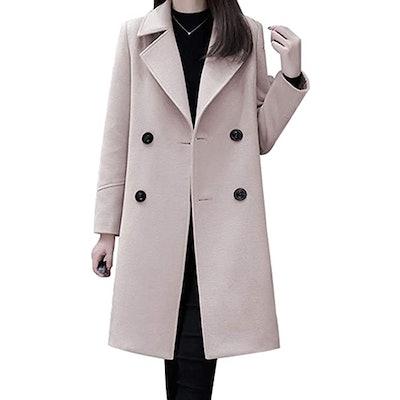 chouyatou Mid-Long Wool Blend Pea Coat