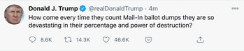 """A tweet from Donald Trump questioning the authenticity of mail-in ballots and their """"power of destruction."""""""