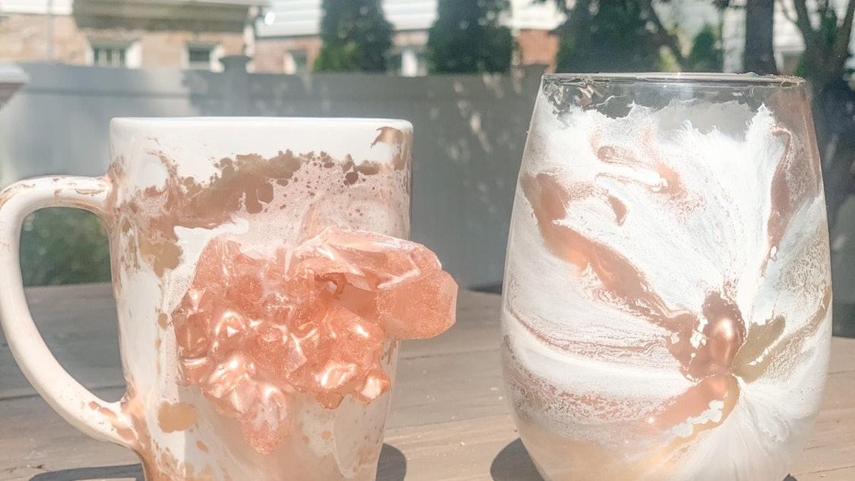 Rose Gold Crystal Mug & Stemless Cup