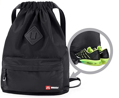 WANDF Sport Drawstring Backpack With Shoe Compartment