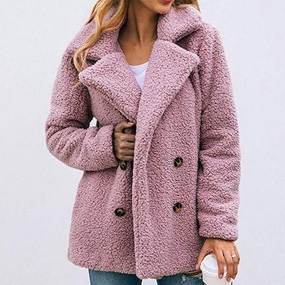 PRETTYGARDEN Oversized Faux Shearling Coat With Lapels