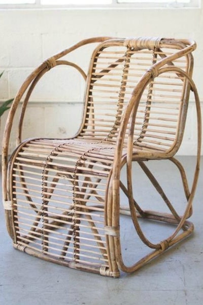Bamboo Rattan Chair with Circle Sides
