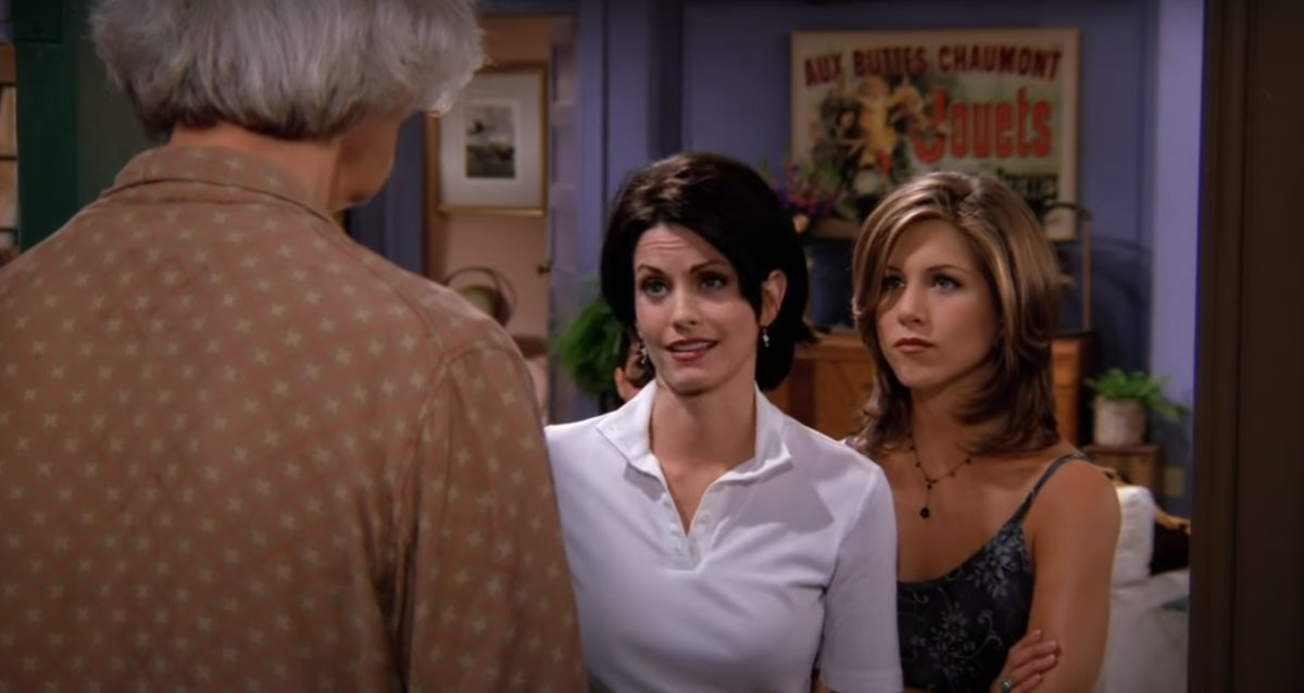Monica and Rachel answer the door for Mr. Heckles in 'Friends.'