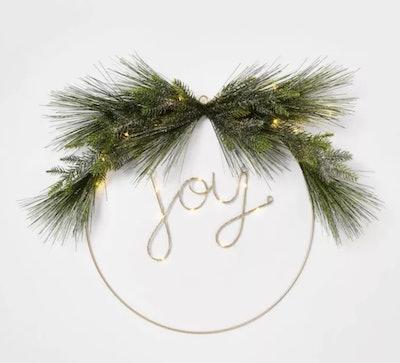 24-inch Pre-Lit Joy Flocked LED Wreath