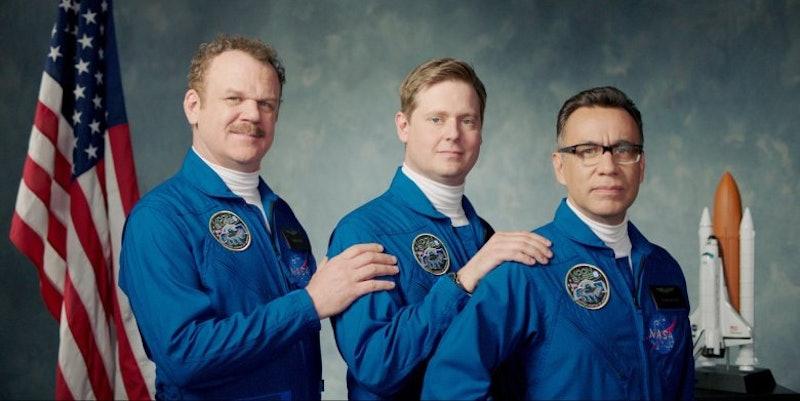 John C. Reilly, Tim Heidecker, and Fred Armisen in Showtime's 'Moonbase 8.'