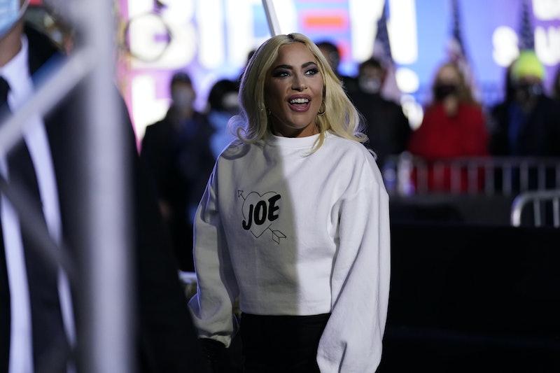 Lady Gaga sporting a white Joe sweatshirt at a Kamala Harris vote rally
