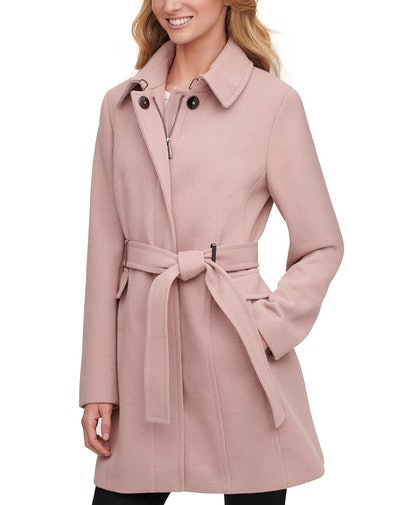 Macy's Calvin Klein Single-Breasted Belted Coat