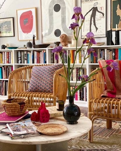 Pair rattan with other non-rattan furniture like a marble coffee table to make it less summery