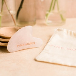 Pink Moon's gua sha tool is helpful for depuffing among other things.