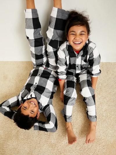 Patterned Gender-Neutral Flannel Pajama Set for Kids - Black Buffalo Plaid