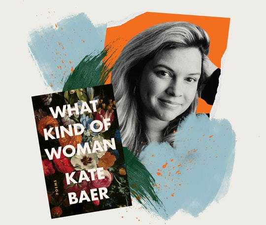 A photo of poet Kate Baer forms an illustration along with the flowered cover of her book WHAT KIND OF WOMAN