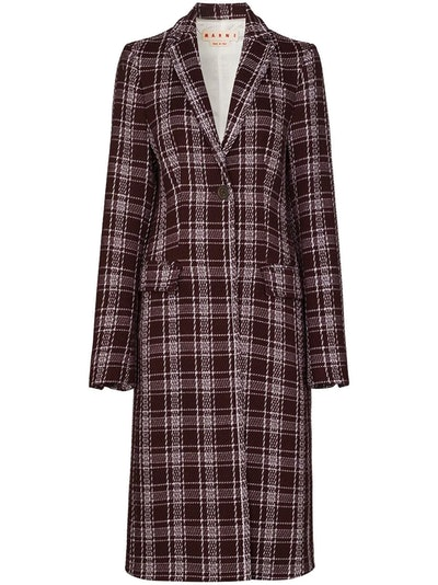 check-pattern single-breasted coat
