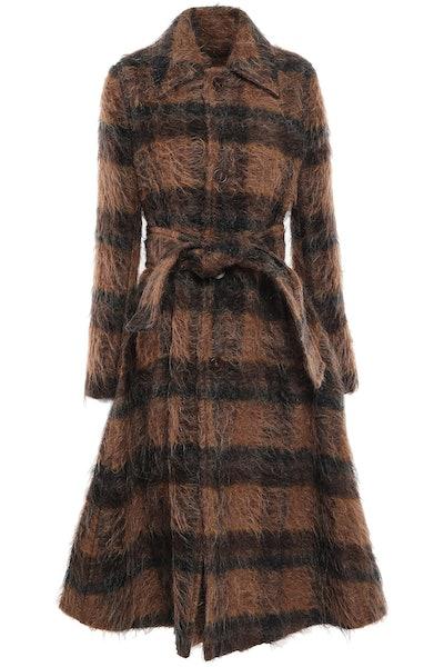 Checked felt coat