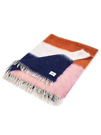 Pink & Blue Mohair Blanket