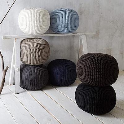 Urban Shop Round Knit Pouf