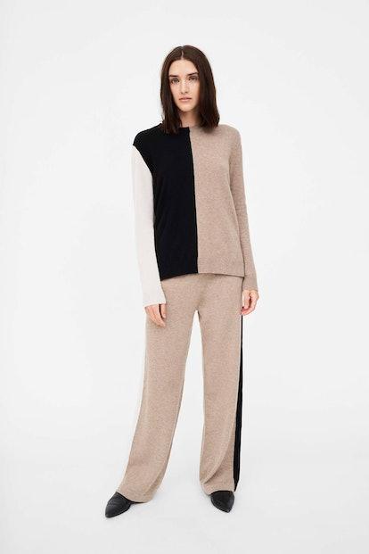 Smoke Colour-Block Asymmetric Cashmere Sweater