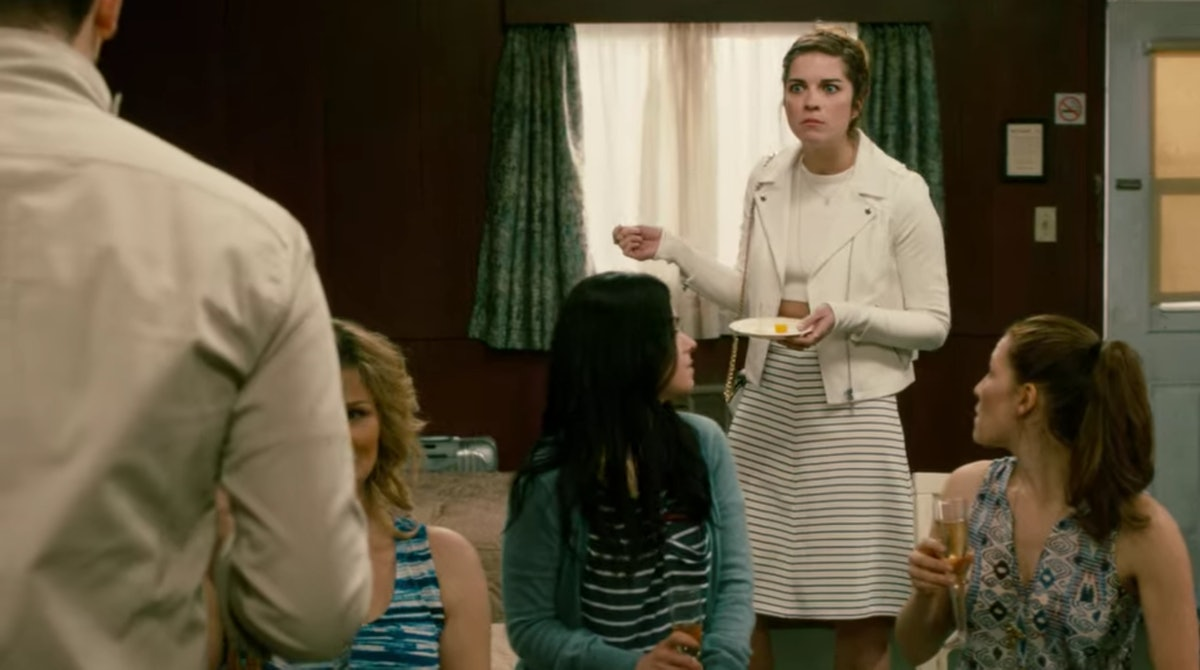 Alexis (Annie Murphy) gets mad at David (Dan Levy) while holding a plate of cheese on 'Schitt's Creek.'