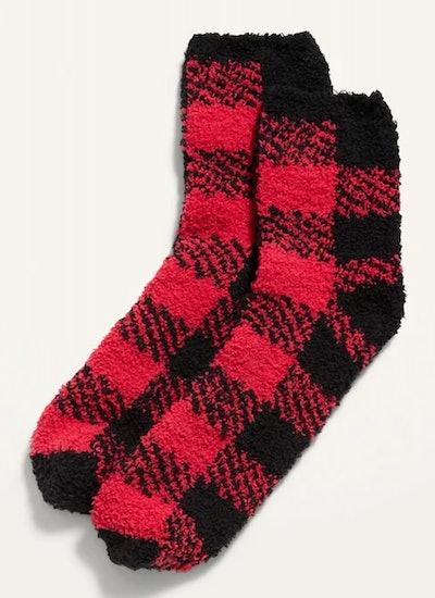 Cozy Crew Socks for Women - Red Buffalo Plaid
