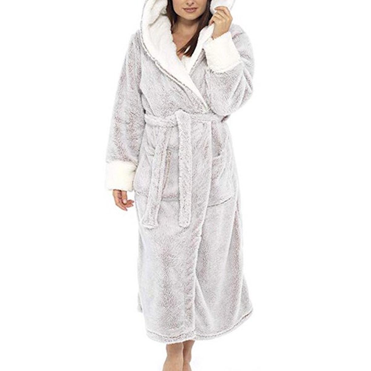 Wodstyle Women's Plus Size Fleece Fluffy Dressing Gown Hooded Bath Robe Warm Nightwear