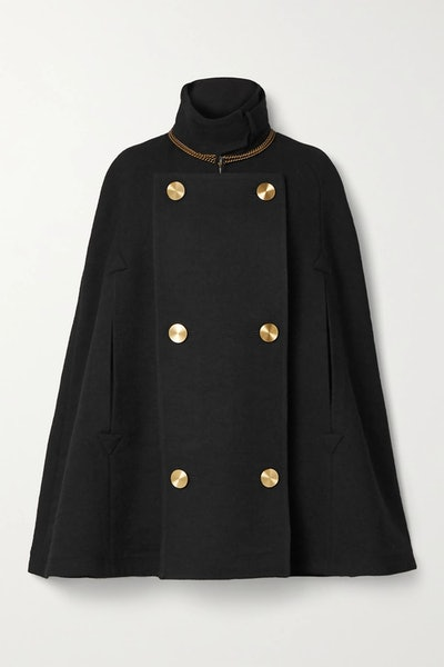 Chain-embellished double-breasted wool cape