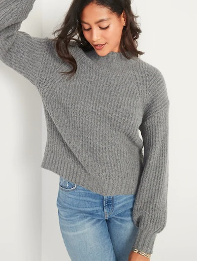 Cozy Shaker-Stitch Mock-Neck Sweater for Women - Heather Gray