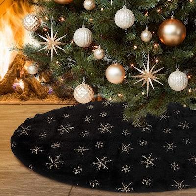 Yuboo Black Christmas Tree Skirt