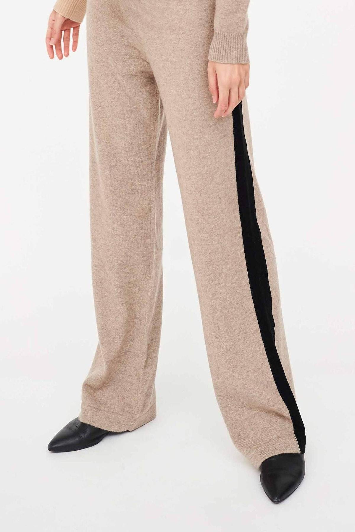 Smoke Contrast Stripe Cashmere Wide-Leg Pants