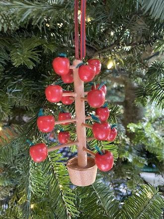 Vintage Scandinavian Apple Tree Wooden Christmas Ornament
