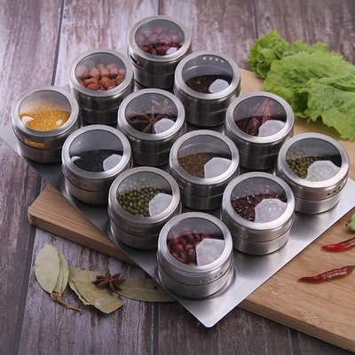 Sanvcomy Magnetic Spice Jar Containers (Set of 12)
