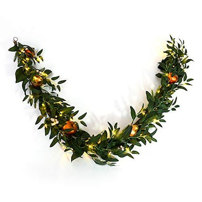 Gilded Fruit Pre-Lit Artificial Garland, 6 Feet, Clear White Lights