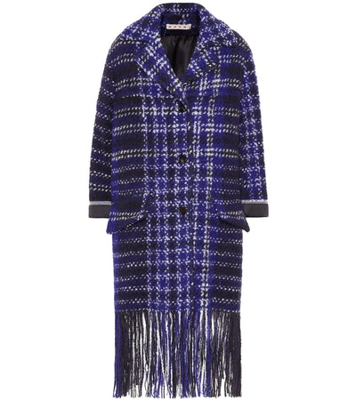 Satin-trimmed Fringed Checked Wool-blend Bouclé-tweed Coat In Blue