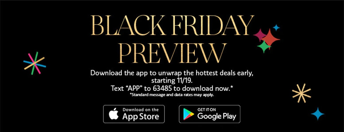"""A black image with the words """"Black Friday Preview"""" and details about Sephora's app printed on it."""